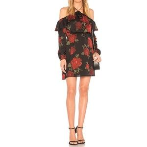 Cupcakes and Cashmere Black Red Rose Ruffle Dress